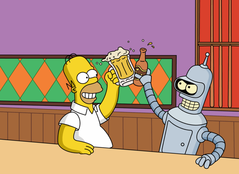 Homer and Bender - Bonding over a beer.