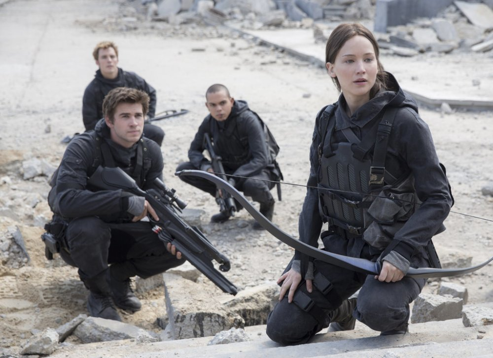 Katniss leads the rebellion.