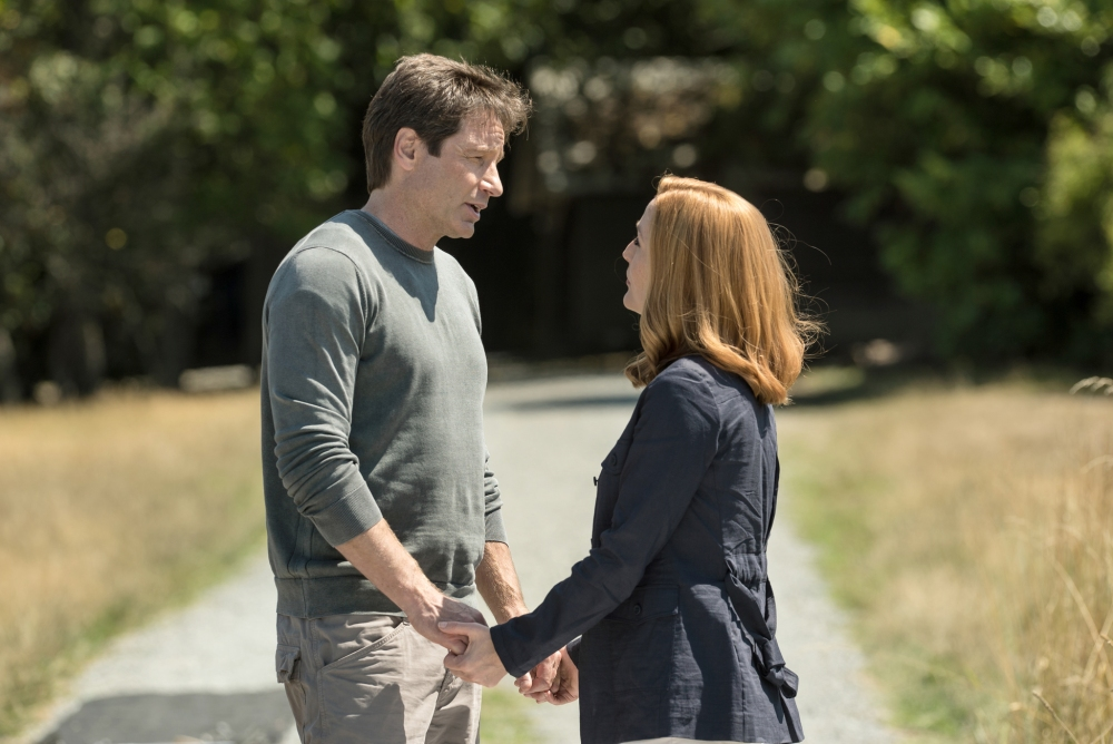 David Duchovny and Gillian Anderson as Mulder and Scully.