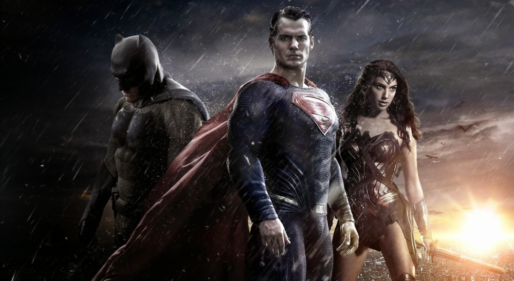 Ben Affleck as Batman, Henry Cavill as Superman and Gal Gadot as Wonder Woman.