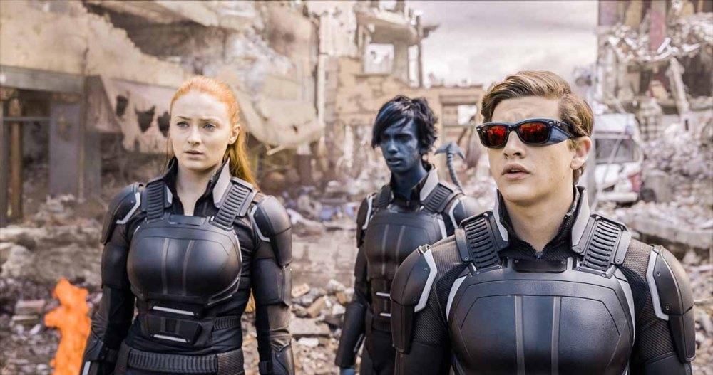 Jean Grey (Sophie Turner), Nightcrawler (Kodi Smit-McPhee) and Cyclops (Tye Sheridan) ready for battle.