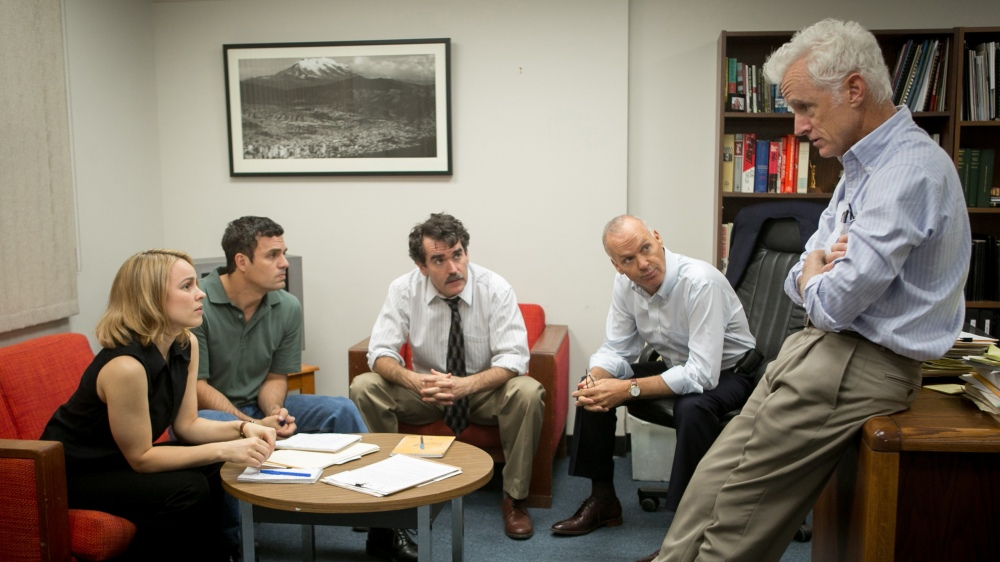 "Rachel McAdams, Mark Ruffalo, Brian d'Arcy James, Michael Keaton and John Slattery as The Boston Globe's ""Spotlight"" team."