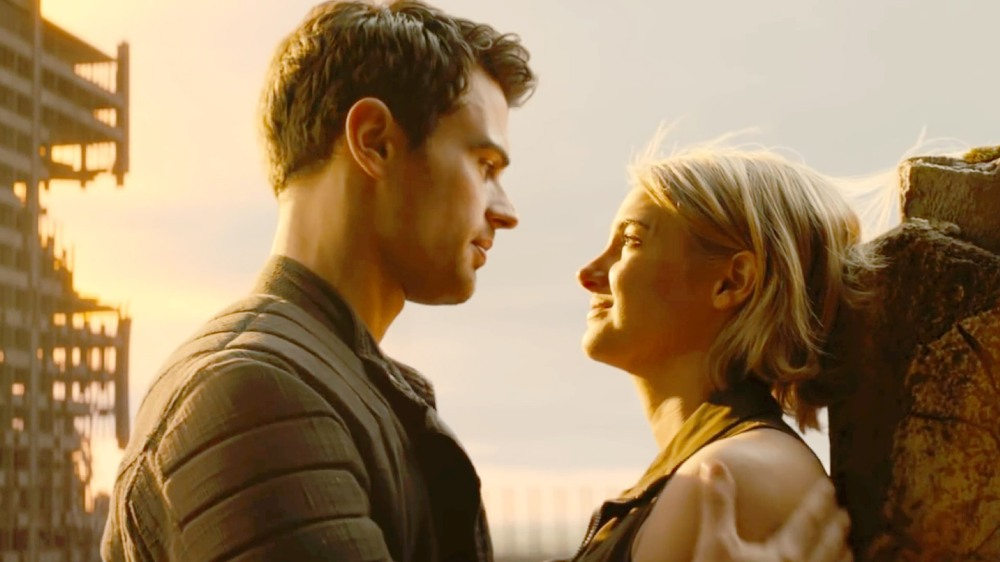 Theo James as Four and Shailene Woodley as Tris.