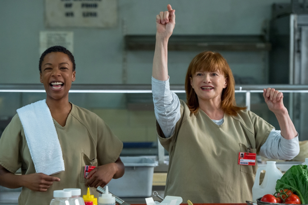 Samira Wiley as Poussey and Blair Brown as Judy King.