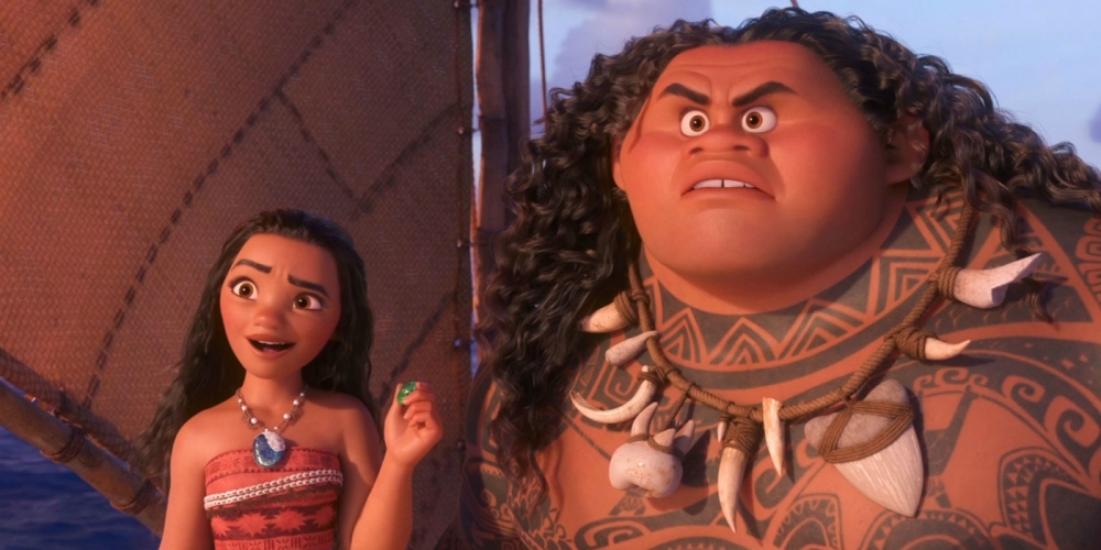 Auli'i Cravalho as Moana Waialiki and Dwayne Johnson as Maui.