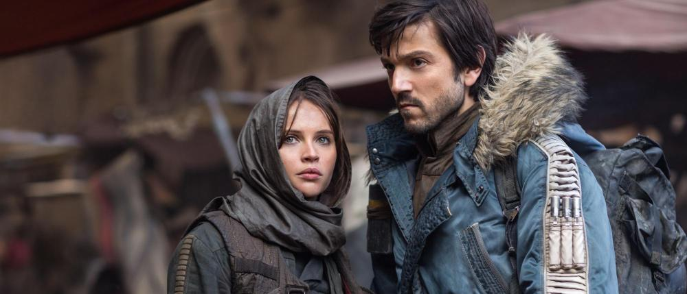 Felicity Jones as Jyn Erso and Diego Luna as Cassian Andor.