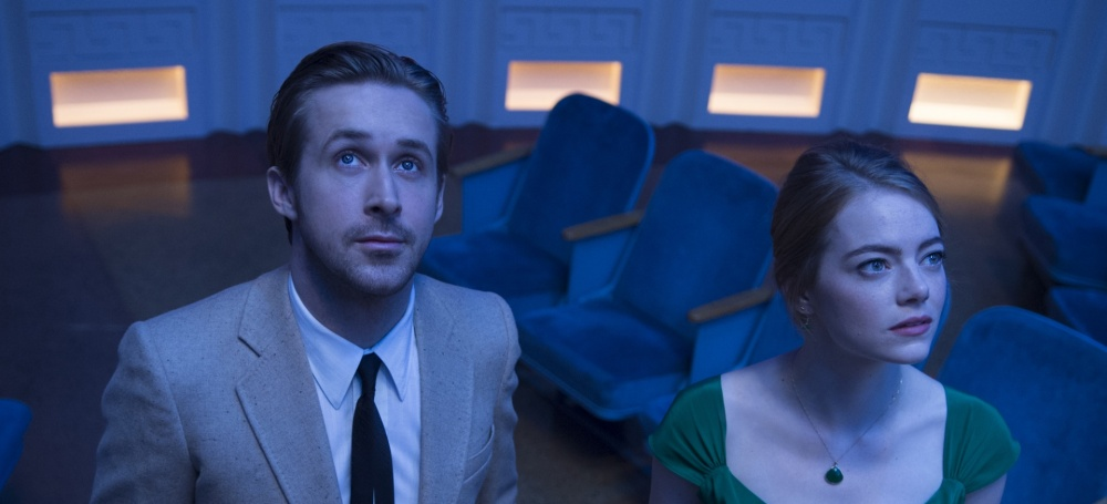 Ryan Gosling as Sebastian and Emma Stone as Mia.